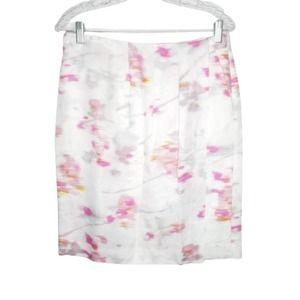 Banana Republic Skirt 6 White Watercolor Faux Wrap